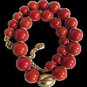 SALE Vintage Signed Ralph Lauren Salmon Enhanced Coral Graduated 12-18mm Bead Necklace ...