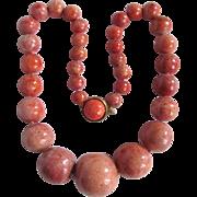 SALE Vintage Natural Sponge Coral Graduated 10mm to 18mm Necklace Certified Appraisal $1780