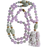 SALE 18kt GP Chinese Enhanced Lavender/Green/Icy Jadeite Hand Knotted Necklace Certified ...