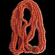 SALE Antique 14kt GF Natural Mediterranean Salmon Coral 3 Strand Necklace Carved Rose Clasp  .