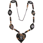 SALE PENDING Antique Natural Genuine Tortoise Shell Silver Pique Necklace Certified Appraisal