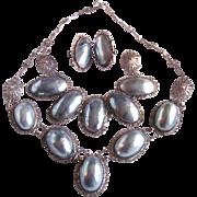 SALE Victorian Silver Filagree Osmina Natural Blue Aragonite Nautilus Shell Mabe Parure Certif