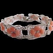 SALE Vintage Sterling Silver Filagree Cannetille Link Bracelet with 48 Angel skin Coral ...