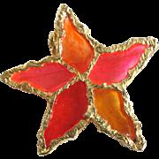 SALE Vintage Brutalist Sculpted Design - Poured Resin Plique a Jour GP Flower/Star Brooch ...