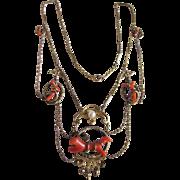 SALE Antique Empire Festoon Natural Coral Lavaliere Necklace Certified Appraisal
