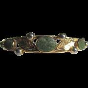SALE 12kt/1/20t Victorian Revival Clamper Nephrite Jadeite Bracelet , signed Russell
