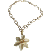 SALE Art Deco Carved & Painted Bone Lovely Little Flower on celluloid chain