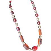 SALE Art DECO Cherry Amber Bakelite Prystal Necklace with Facetted & Rod shaped beads