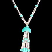 SALE Art  Deco Jakob Bengel Green Glass Chrome Lavaliere Necklace