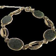 SALE Mid Century Signed Bal-Ron 12kt/1/20th Nephrite Jadeite cabochons Tennis Style Bracelet