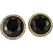 SALE Vintage Large HOBE Facetted Black Earrings with rhinestones 2 for 1 Offer