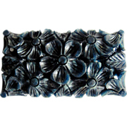 SALE Art Deco Galalith Blue Moon Color Carved Brooch--NOW 1/2 PRICE