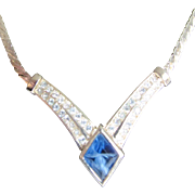 SALE 1970's Christian Dior Necklace with center Blue Stone &  Pave Rhinestones