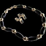 SALE Vintage Napier Black Bakelite & Brass Necklace and Enamel Clip Earrings.