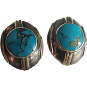 SALE Vintage MODERNIST Style  Genuine Turquoise Pierced Earrings made with  Sterling Silver ..