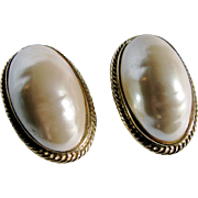 SALE Vintage 22kt GP Givenchy Faux Mabe Pearl Large Scale Clip Earrings