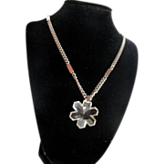 SALE Trifari Rock Crystal Snowflake Pendant on Thick silvertone Chain