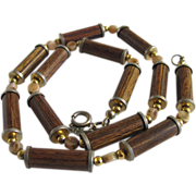 SALE MID CENTURY Trifari Bakelite Immersed Wood Rod Beads Necklace 2 FOR 1 OFFER