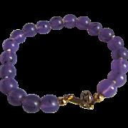 SALE Art Deco RARE Prystal Lavender Bead Knotted Bracelet from British Estate