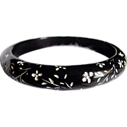 SALE Rare Art Deco Black Galalith Carved Flower Cut away Bangle