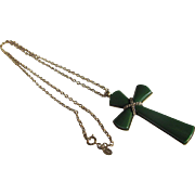 SALE 2 for 1 OFFER Vintage MODERNIST 1970's Avon Green Lucite Juliet Pendant Cross