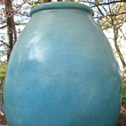 Huge and rare 40 inch aqua blue  glazed Galloway pottery garden urn