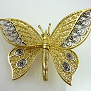 Alice Caviness Gold Vermeil over Sterling Filigree Butterfly Pin