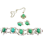 Alice Caviness Sterling and Turquoise Bracelet, Pendant, Earrings