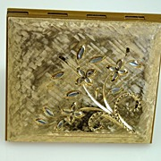 Marhill Hand Engraved Goldtone Powder Compact - Never Used
