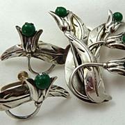 Taxco Signed ACO Sterling Flower Jade Brooch/Pendant & Earrings