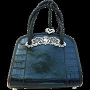 BRIGHTON 'Chantilly Lace' Black Leather Handbag with Dust-bag & Cross-body Strap