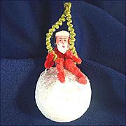 Clay Face Chenille Santa on Cotton Compo Ball Christmas Ornament