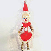 REDUCED Beaded Santa Claus Elf Retro Christmas Ornament