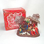 Shiny Brite Plastic Christmas Nativity Scene in Original Box