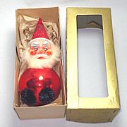 Santa Claus Glass Plastic West German Christmas Ornament
