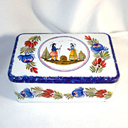 SALE French Quimper Style Breton Biscuit Tin