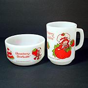 Fire King Strawberry Shortcake Bowl and Mug Breakfast Set