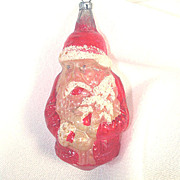 German Santa Claus With Mica Tree Glass Christmas Ornament