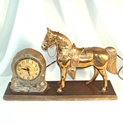 Cast Metal United Western Horse Mantle Clock For Repair
