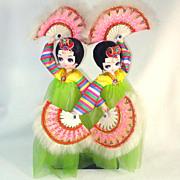 Bradley Twin Big Eyed Korean Fan Dancer Boudoir Dolls