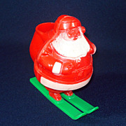 Santa on Skis Hard Plastic Christmas Candy Container