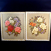 Pair 1940s Large Framed Averill Floral Prints