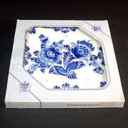 Boxed West Germany Blue Danube Floral Tile Trivet