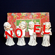 Relco Noel Christmas Angels 1950s Candle Holder Figurines Boxed Set