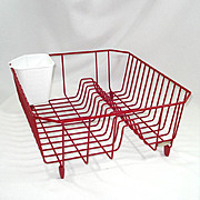 Rubbermaid 1950s Red Vinyl Coated Wire Dish Drainer Rack