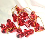 1950s Red Plastic Bell Ornaments Christmas Garland