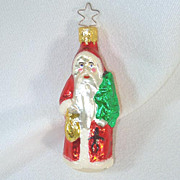 Santa With Tree and Toys Inge Glass Christmas Ornament