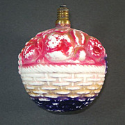 Fruit Basket Large Figural Milk Glass Christmas Light Bulb Working