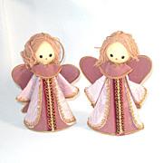2 Japan Pink Yarn Hair Angel Christmas Ornaments