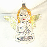 Angel Silvered Glass Christmas Ornament Foil Wings Decal Eyes